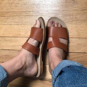 Cute tan faux leather slides size 6